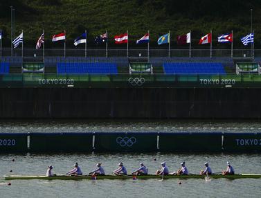 FOTO: Jelang Olimpiade Tokyo 2020, Tim Dayung Berbagai Negara Berlatih di Sea Forest Waterway