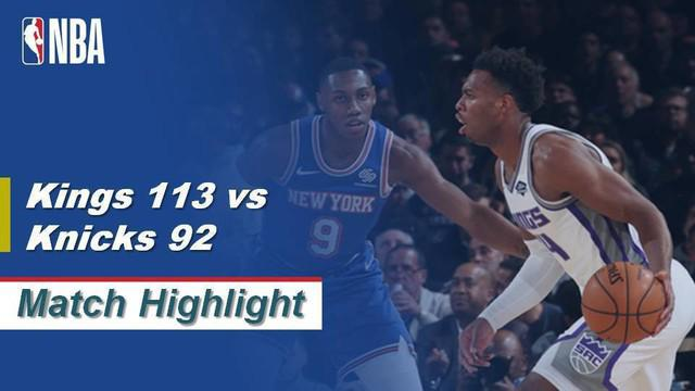 Berita Video Highlights NBA 2019-2020, Sacramento Kings Vs New York Knicks 113-92