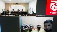 Terdakwa kasus narkoba, dua di antaranya oknum polisi, mendengarkan tuntutan JPU Kejari Dumai secara virtual. (Liputan6.com/M Syukur)