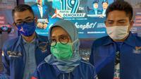 Ketua DPD Demokrat Banten, Iti Octavia Jayabaya, usai menghadiri ulang tahun Demokrat ke-19 disebuah lapangan futsal di Kecamatan Baros, Kabupaten Serang, Banten. (Foto:Liputan6/Yandhi Deslatama)