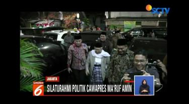 Dalam kunjungan ke markas 3 parpol koalisi indonesia kerja cawapres Ma'ruf Amin menyampaikan terimakasih telah mendukungnya untuk mendampingi Joko Widodo.