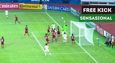 Gol-gol Timnas Indonesia U-19 ke gawang Qatar U-19 dengan free kick yang sensasional pada laga kedua Grup A Piala AFC U-19 2018 di SUGBK, Senayan, Jakarta, Minggu (21/10/2018).