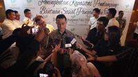 Mensos Juliari P Batubara di sela-sela kegiatan Peningkatan Kapasitas Pendamping BPNT 2019, di Hotel Vasa, Surabaya, Jawa Timur, Kamis (12/12)