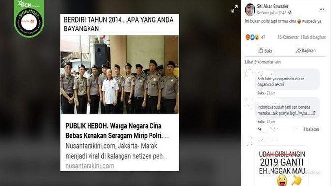 Gambar Tangkapan Layar Foto Sejumlah Pria Kenakan Seragam Polri (sumber: Facebook)