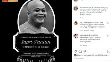 Eko Patrio ikut berduka atas meninggalnya komedian Sapri