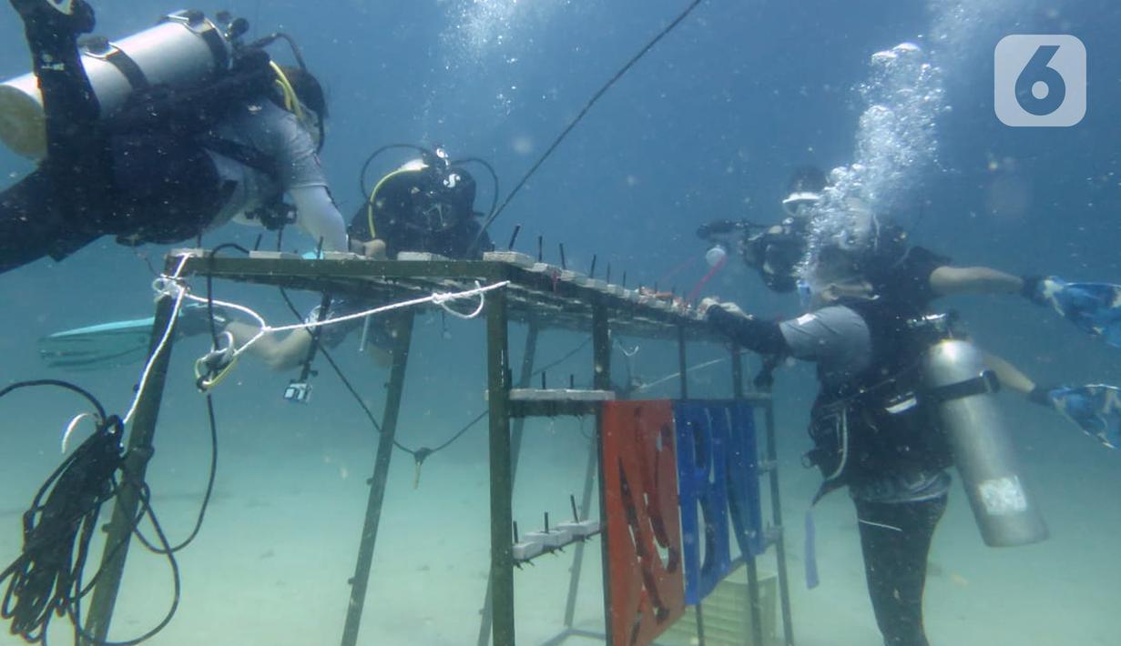 Penyelam BNI HiMovers Dive Community menanam bibit terumbu karang di Perairan Pantai Pulisan, Minahasa Utara, Sulawesi Utara, Rabu (23/06/2021). BNI menanam 1.946 bibit terumbu karang sebagai bagian dari ungkapan suka cita dalam rangkaian perayaan HUT ke - 75. (Liputan6.com/HO/BNI)
