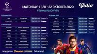 Jadwal Liga Champions Matchday 1 di Vidio. (Sumber: Vidio)