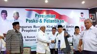 Cawapres Ma'ruf Amin saat melantik pengurus dan meresmikan Rumah KMA Sumsel (Liputan6.com / Nefri Inge)
