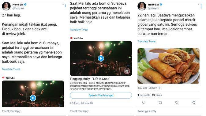 Cuitan-cuitan dari pengamat gadget Herry SW terkait kabar burung hengkangnya LG Mobile dari Indonesia (Screenshot Twitter @HerrySW)