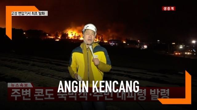 Seorang reporter TV mencoba bertahan dari angin kencang dan tetap fokus saat lakukan laporan siaran langsung.