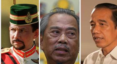 Sultan Brunei Hassanal Bokiah, PM Malaysia Muhyiddin Yassin, dan Presiden RI Jokowi.