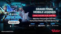 Streaming Grand Final GoPay Arena Level Up Community Mobile Legends di Vidio. (Sumber : dok. vidio.com)
