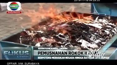 Sebanyak 464 ribu lebih batang rokok ilegal senilai Rp. 330 juta lebih, dimusnahkan petugas Bea Cukai Banyuwangi, Jawa Timur. Rokok-rokok ilegal tersebut merupakan hasil penindakan sejak bulan Januari hingga Agustus 2019 di berbagai kecamatan di Bany...
