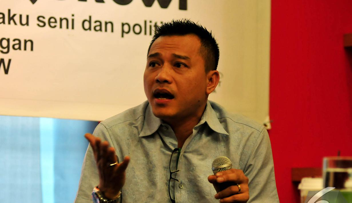 Anang Hermansyah mempertanyakan Pemerintahan Jokowi-JK yang belum menggarap ekonomi kreatif secara khusus, Jakarta, Jumat (14/11/2014) (Liputan6/Johan Tallo)