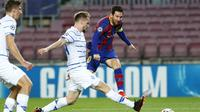 2. Lionel Messi (Barcelona) - Total penampilan sebanyak 147, termasuk saat melakoni partai matcday 3 musim 2020/2021 melawan Dynamo Kiev (4/11/2020). (AP Photo/Joan Monfort)