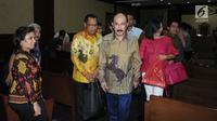 Terdakwa merintangi penyidikan KPK pada kasus korupsi e-KTP, Fredrich Yunadi usai sidang lanjutan di Pengadilan Tipikor, Jakarta, Kamis (31/5). JPU KPK menuntut terdakwa dihukum 12 tahun penjara, denda Rp 600 Juta. (Liputan6.com/Helmi Fithriansyah)
