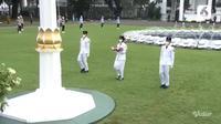 Peringatan HUT RI ke-75 disaksikan secara virtual oleh para menteri (Foto: Vidio.com)