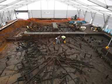 Arkeolog dari Universitas Cambridge, menemukan rumah kayu dari zaman perunggu yang tertutup oleh lumpur di Peterborough, Inggris, (12/1/2016). Bangunan rumah kayu ini berbentuk seperti rumah panggung. (REUTERS/Peter Nicholls)