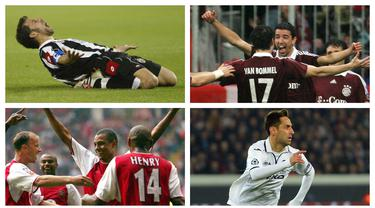 Partai-partai Liga Champions telah menghadirkan kejadian-kejadian unik dan menarik. Salah satunya adalah gol-gol kilat yang terjadi saat laga baru dimulai dalam hitungan detik. Berikut 7 daftar pencetak gol tercepat dalam sejarah Liga Champions. (Kolase Foto AFP)