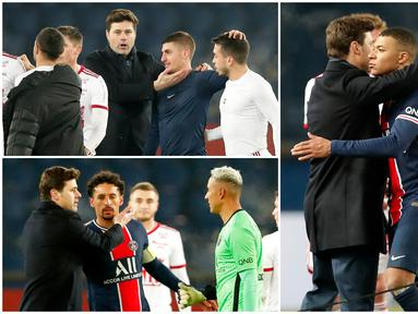 Pelatih baru Paris Saint-Germain (PSG), Mauricio Pochettino, menghampiri para pemain PSG usai peluit panjang berbunyi. Pria asal Argentina ini tampak begitu hangat dengan anak asuhnya.