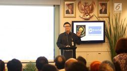 Mendagri Tjahyo Kumolo memberikan sambutan saat Sosialisasi Pemanfaatan Nomor Induk Kependudukan, Data Kependudukan, dan E KTP melalui Uji Coba Dompet digital DANA di SCTV Tower Jakarta, Jumat (13/7). (Liputan6.com/Angga Yuniar)