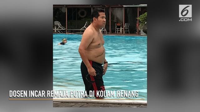 Seorang pria yang berprofesi sebagai dosen tertangkap saat tengah mengincar remaja putra di sebuah kolam renang di kawasan Jakarta Selatan.
