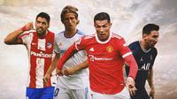 Ilustrasi - Luka Modric, Luis Suarez, Cristiano Ronaldo, Lionel Messi (Bola.com/Adreanus Titus)