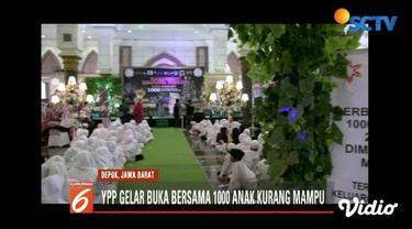 YPP SCTV-Indosiar bersama Yapena gelar buka puasa bersama seribu anak yatim piatu, disabilitas, dan kurang mampu di Masjid Kubah Mas, Depok, Jawa Barat.