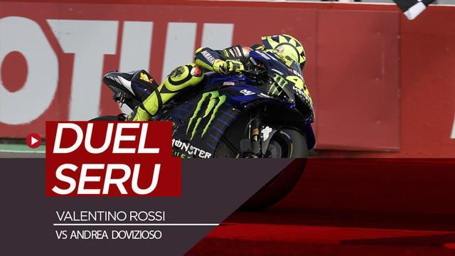 Berita video momen duel Valentino Rossi dengan Andrea Dovizioso saat balapan di MotoGP Argentina 2019.