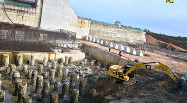 Pembangunan bendungan Margatiga yang berada di Kabupaten Lampung Timur, Lampung. (Dok Kementerian PUPR)