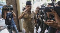 Bakal calon Presiden Prabowo Subianto tiba di kantor PBNU, Jakarta, Kamis (16/8). Pertemuan tersebut merupakan lanjutan pertemuan antara Prabowo dan Said Aqil Siroj sebelum pendaftaran capres-cawapres, Senin (16/7/2018) lalu. (Liputan6.com/Faizal Fanani)