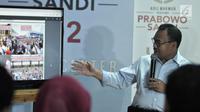 Direktur Materi dan Debat Badan Pemenangan Nasioanal (BPN) Sudirman Said memaparkan penerimaan dan pengeluaran dana kampanye Prabowo-Sandiaga di Jakarta, Rabu (28/11). Prabowo-Sandiaga hingga saat ini tercatat Rp 41,9 miliar. (merdeka.com/Iqbal S Nugroho)