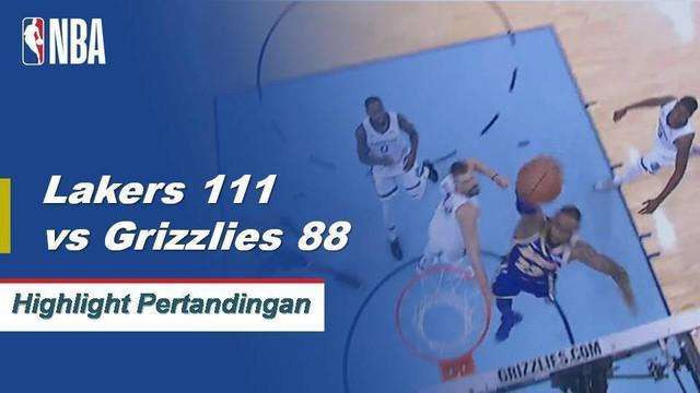 LeBron James selesai dengan 20 poin, delapan rebound dan sembilan assist saat Lakers mengalahkan Grizzlies di jalan, 111-88.