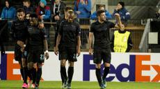 Pemain Lazio, Filip Djordjevic bersama rekan-rekan setim merayakan gol yang dicetaknya ke gawang Rosenborg pada laga Liga Europa di Stadion Lerkendal, Norwagia, Jumat (6/11/2015) dini hari WIB. Lazio menang 2-0.(Reuters/Ned Alley/NTB Scanpix)