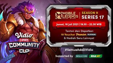 Live Streaming Vidio Community Cup Season 9 Mobile Legends Series 17 di Vidio, Jumat 16 Juli 2021