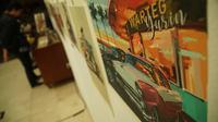 Seniman olah digital asal Bandung Al Zeinuar Tresno menggelar pameran bertajuk Kesengsem di Morgy Coffee, Jalan Anggrek 14, Kota Bandung. (Liputan6.com/Huyogo Simbolon)
