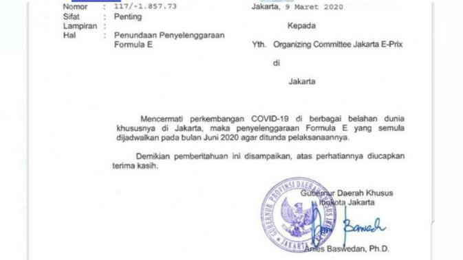 Surat pemberitahuan penundaan Formula E 2020 di Jakarta. (istimewa)