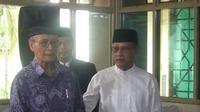 Ketua PP Muhammadiyah Haedar Nashir menghadiri syawalan PP Muhammadiyah di Yogyakarta (Liputan6.com /Switzy Sabandar)