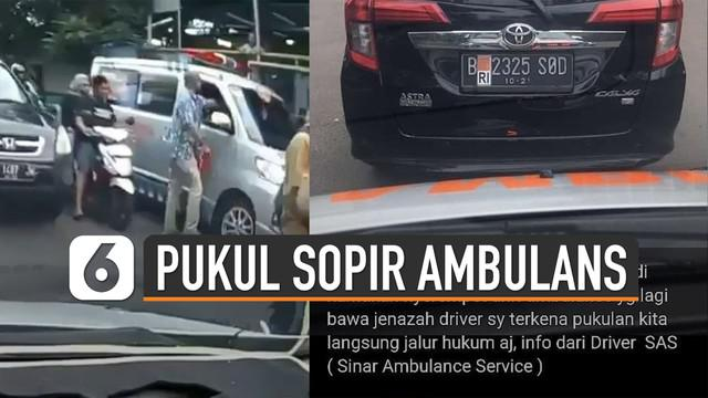 Beredar video yang menunjukkan salah seorang pria sedang memukul sopir ambulans. Peristiwa itu terjadi di jalan Kesehatan Raya, Bintaro, Pesanggrahan, Jakarta Selatan.