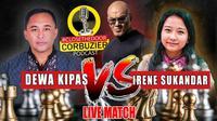 Woman Grand Master (WGM), Irene Sukandar, menang telak dengan skor 3-0 atas Dadang Subur alias Dewa Kipas dalam duel persahabatan catur yang disiarkan secara live streaming. (dok. Deddy Corbuzier)
