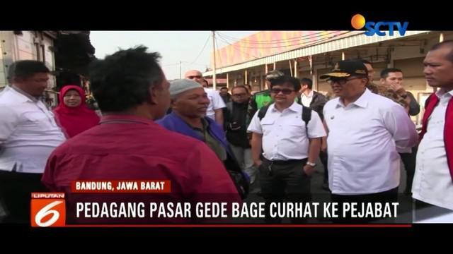Dua hari pascakebakaran, pedagang Pasar Induk Gede Bandung curhat saat didatangi Wakil Wali Kota Bandung.