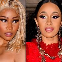 Cardi B dan Nicki Minaj sepertinya tak bisa menahan amarah mereka saat berpapasan di New York Fashion Week pada 7 September lalu. (TooFab)