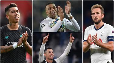 Kylian Mbappe menjadi penyerang atau center foward dengan harga termahal di dunia berdasarkan nilai pasar pada 2019-2020. Selain nama Mbappe, ada Harry Kane dan Firmino yang menyusul, serta Cristiano Ronaldo. Berikut 10 penyerang dengan nilai pasar tertinggi. (kolase foto AFP)