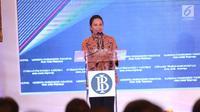 Menteri BUMN Rini Soemarno memberi sambutan dalam launching Gerbang Pembayaran Nasional (GPN) di Gedung BI, Jakarta, Senin (4/12). GPN bisa menekan biaya investasi dan infrastruktur bagi perbankan karena dapat dipakai bersama. (Liputan6.com/Angga Yuniar)