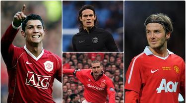 Edinson Cavani resmi bergabung Manchester United pada musim panas ini dan menggunakan nomor punggung 7 yang keramat di Old Trafford. Nomor 7 di Manchester United sendiri identik dengan pemain hebat. Berikut siapa saja pengguna nomor punggung 7 di Manchester United. (kolase foto AFP)