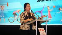 Menko PMK Puan Maharani membuka dan menjadi Pembicara Kunci dalam 'Seminar Women in Sport' yang diselenggarakan oleh Komite Olimpiade Indonesia (KOI) di Jakarta pada Rabu (31/7/2019). (Dok Kemenko PMK)