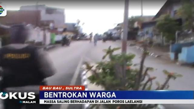 Bentrokan terjadi saat kedua kelompok warga Kelurahan Wameo dan kelompok warga Kelurahan Kanakea sudah berhadap-hadapan di Jalan Poros Laelangi.