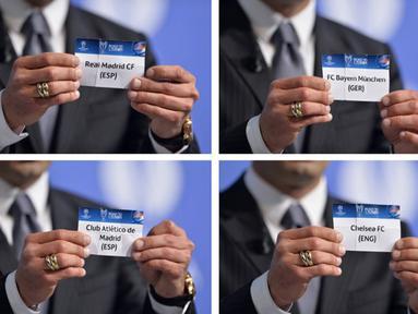 Jumat 11 April 2014, markas UEFA di Nyon, Swiss menjadi saksi Undian laga   semifinal LIga Champions 2014 (AFP PHOTO/FABRICE COFFRINI)