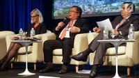 Menteri PPN/Kepala Bappenas, Bambang Brodjonegoro (tengah) saat menjadi pembicara dalam World Bank Annual Meeting dengan topik Localizing the Implementation of the SDGs di Washington DC, Kamis (12/10). (Liputan6.com/Pool/Bappenas)