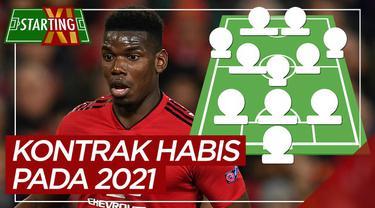 Berita motion grafis starting XI pemain Premier League yang kontraknya habis pada 2021, di antaranya pemain Manchester United.